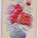 Roses Embossed Airbrushed Silver Gilt Vintage Postcard 1908