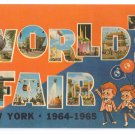 Large Letter World's Fair New York 1965 Vintage Post Card