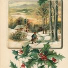 Country Scene Holly Vintage EAS Embossed Christmas Postcard