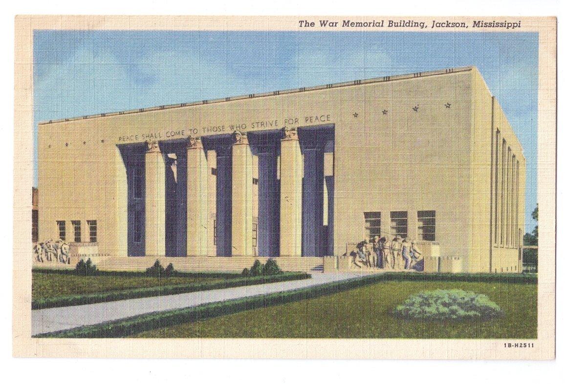 Jackson MS War Memorial Building Curteich 1941 Linen Postcard