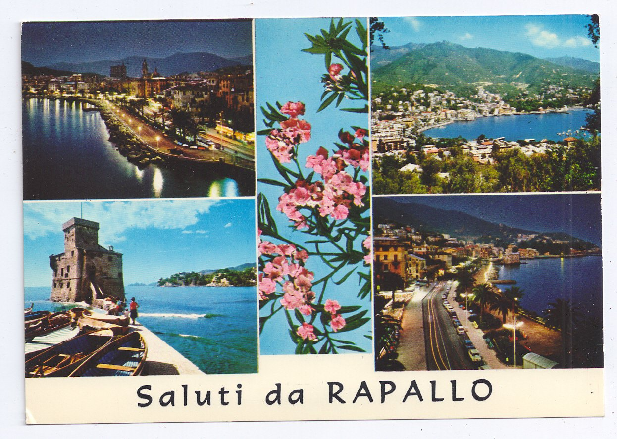 Italy Greetings From Rapallo Saluti Multiview Postcard 4X6