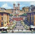 Italy Rome Spanish Square Flowers Steps Church Trinita dei Monti Postcard