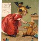 3 M. Greiner Girl feeding Teddy Bear Unsigned Postcards 1907