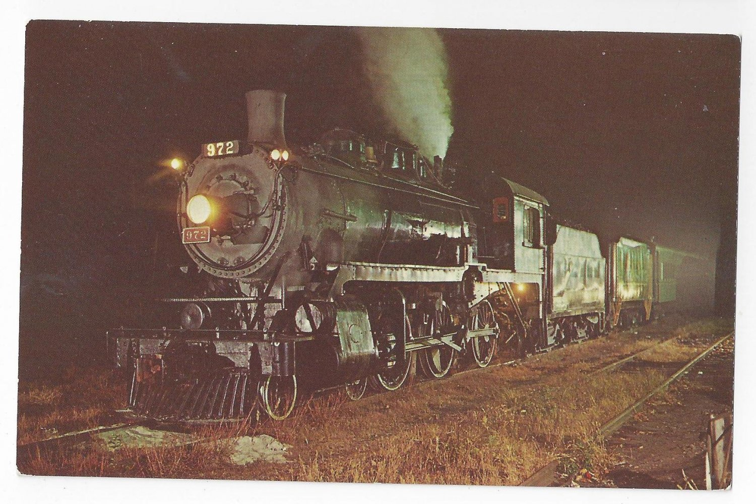 Train Postcard Canadian Pacific 972 Steam Locomotive Jersey Central