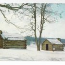 Valley Forge PA Log Cabin Huts Winter Snow Vintage Postcard