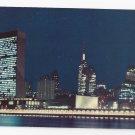 NY United Nations New York City Skyline Night 1960s Nester's Postcard K-101
