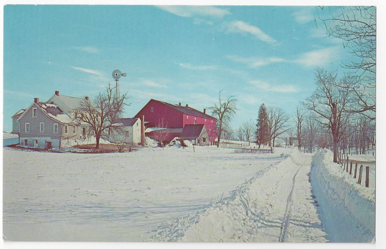 Amish Pennsylvania Dutch Farm Winter Snow Vintage Postcard
