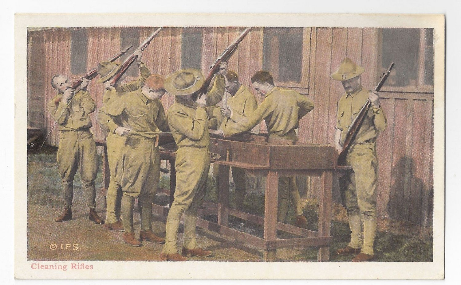 Military WWI Soldiers Cleaning Rifles Vintage Postcard