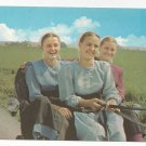 Amish Postcard Mennonite Girls Lancaster Co PA Traditional Clothing Driving Buggy