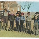 Amish Postcard Mennonite Boys Lancaster Co PA Traditional Hats Clothing