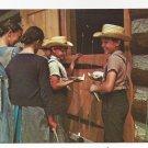 Amish Postcard Mennonite Boys Girls Traditional Clothing Straw Hats Lancaster Co