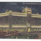 Chicago Illinois Merchandise Mart by Night Linen Postcard