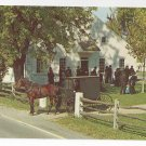 Pennsylvania Dutch Amish Mennonite Meeting House Horse Buggy Vintage 1969 Postcard