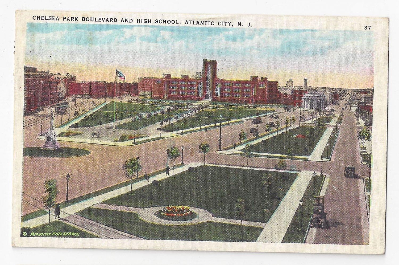 Atlantic City NJ Chelsea Park Blvd High School 1936 Tichnor Postcard