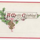 Christmas Postcard Embossed Gold Bells Holly Vintage