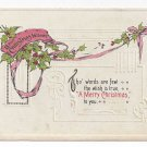 Christmas Postcard Embossed Swag of Holly Vintage 1913