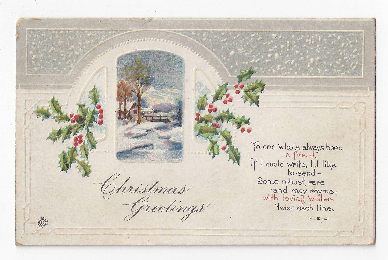 Christmas Poem Postcard Country Scene Embossed Stecher Vintage ca 1915