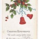 Christmas Postcard Embossed Bells Holly Bergman Vintage 1917