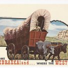 NE Welcome to Nebraska Covered Wagon Vintage 1967 Postcard