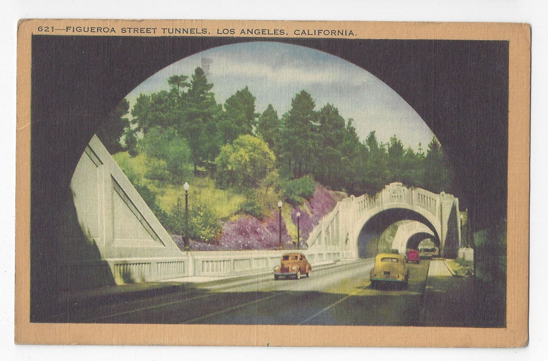 CA Los Angeles Figueroa Street Tunnels Vintage 1942 Linen Postcard