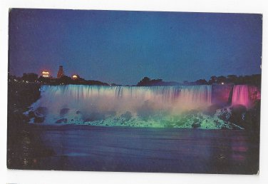 Canada Niagara Falls American Falls Illuminated Vintage Postcard