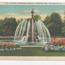PA Philadelphia Fountain Strawberry Mansion Fairmount Park Linen Postcard