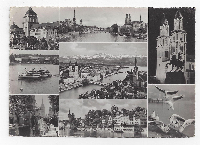 Switzerland Zurich Multiview Vintage 1954 Postcard 4X6