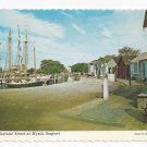 CT Mystic Seaport Boats Cobblestone Street Vintage Postcard 4X6