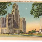 NY Buffalo New City Hall Vintage Linen New York Postcard  Metrocraft