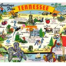 Greetings Tennessee State Map Cities Attractions Industry Vtg Postcard