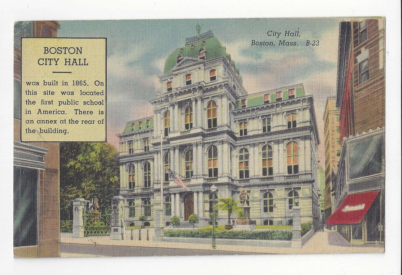 MA Boston City Hall Vintage Linen 1945 Postcard