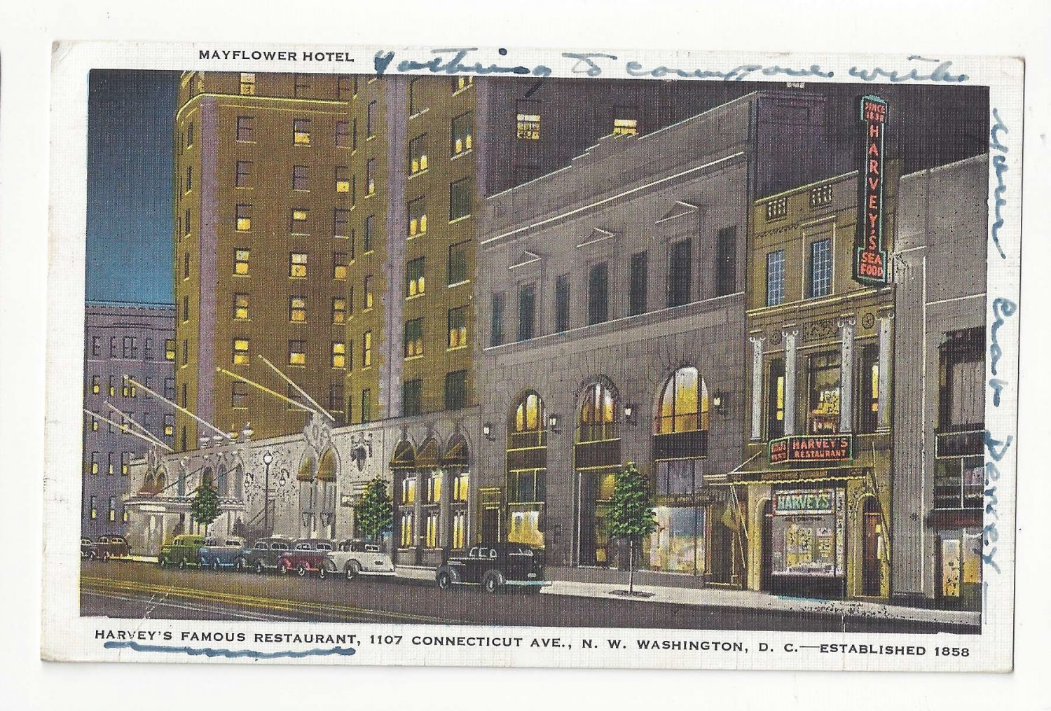 Washington D.C. Mayflower Hotel Harvey's Famous Restaurant Vntg Postcard