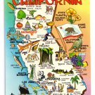 Greetings California State Map Cities Attractions Industry Vtg Postcard