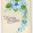 Vintage Hand Painted Birthday Postcard 1910 Forget Me nots