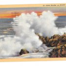 NJ Atlantic City Giant Breaker Atlantic Ocean Vintage Linen Postcard