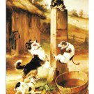 Baffled Walter Hunt Cat Dogs Haussner's Restaurant Baltimore MD Vtg Art Postcard