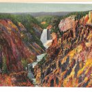 Grand Canyon Yellowstone National Park Great Falls in Distance Vtg Postcard