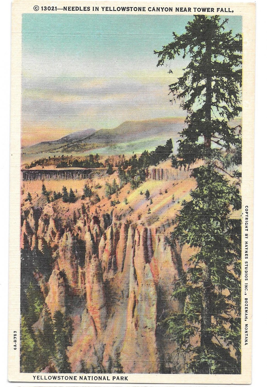 WY Yellowstone Park Needles Yellowstone Canyon Vtg Haynes Linen Postcard Wyoming