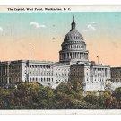 Washington DC The Capitol West Front Vtg B S Reynolds Postcard 1924