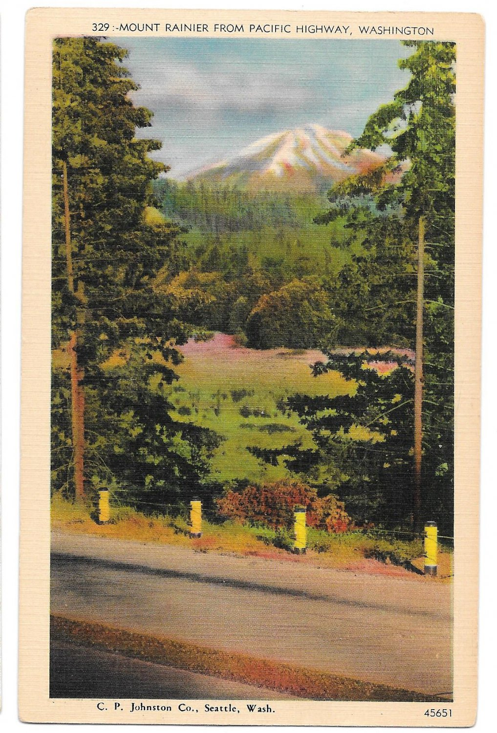 WA Mount Ranier from Pacific Highway Vtg C P Johnston Linen Postcard Washington