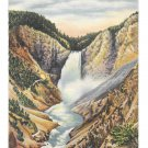 WY Yellowstone National Park Lower Falls and Canyon Vtg Tichnor Linen Postcard