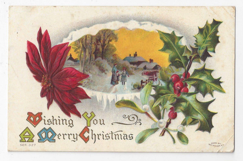 Christmas Postcard Winter Scene Holly Poinsettia Vintage 1910 Flag Cancel
