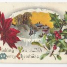 Christmas Postcard Winter Scene Holly Poinsettia Vintage 1910 Flag Cancel
