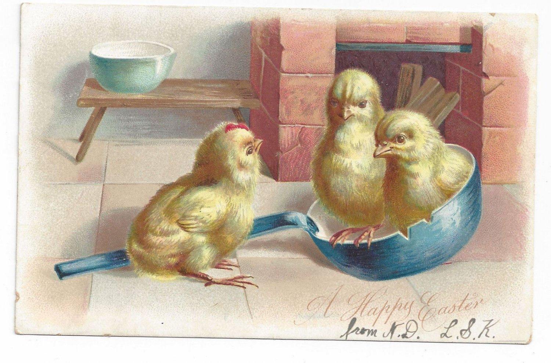 Easter Postcard Chicks in Ladle Vintage Tuck Embossed UDB ca 1905 Postcard
