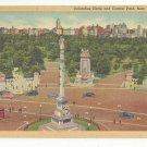 NY New York City Columbus Circle Central Park Vtg Linen Postcard