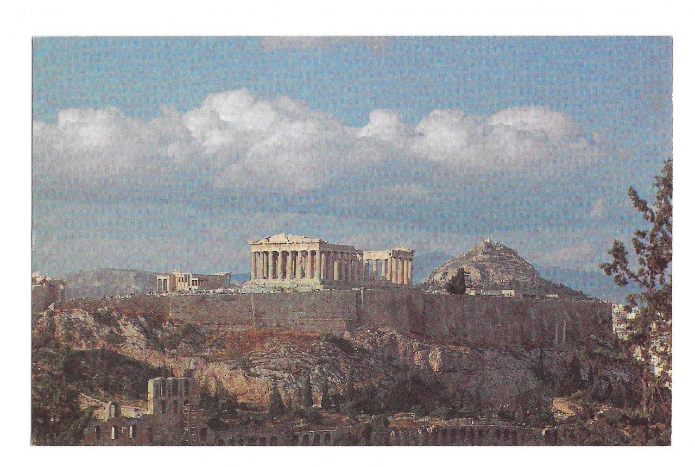 TWA Greece Athens The Acropolis In Flight with TWA Vtg Advertising Postcard