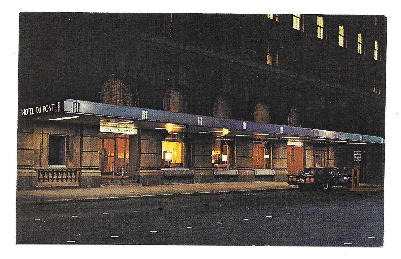 Du Pont Hotel Wilmington DE Night View Vtg Postcard Dupont