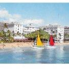 Hawaii Moana & Surfrider Hotels Catamarans Vtg Postcard HI