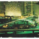 PA Pittsburgh Night View Hilton Hotel Vtg Postcard