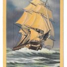 Frigate Constitution Old Ironsides Boston MA Vtg Linen Postcard